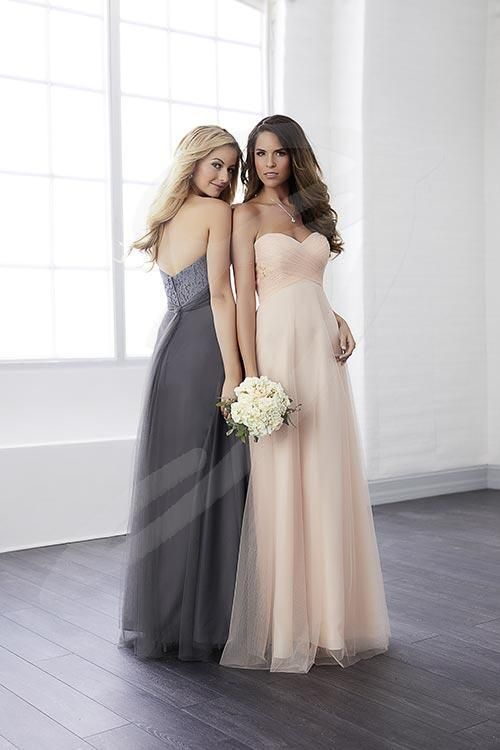 Balletts Bridal - 25560 - Bridesmaids by Jacquelin Bridals Canada - A wonderfully pleated tulle bodice accentuates the accompanying lace in this full length, sweetheart neckline dress.