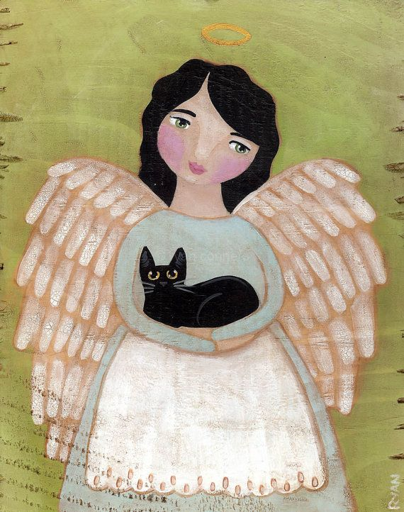 """""""Angel and Black Cat"""" Original Cat Folk Art by KilkennyCatArt Angel & Black Cat""""  -Painted with Golden acrylics. -Approx. 6"""" x 7 1/4"""" x 1"""" Piece of pine (left over from shelves I put up) -Topped with two coats of gloss varnish. -Signed, titled, and dated on the back by me!"""