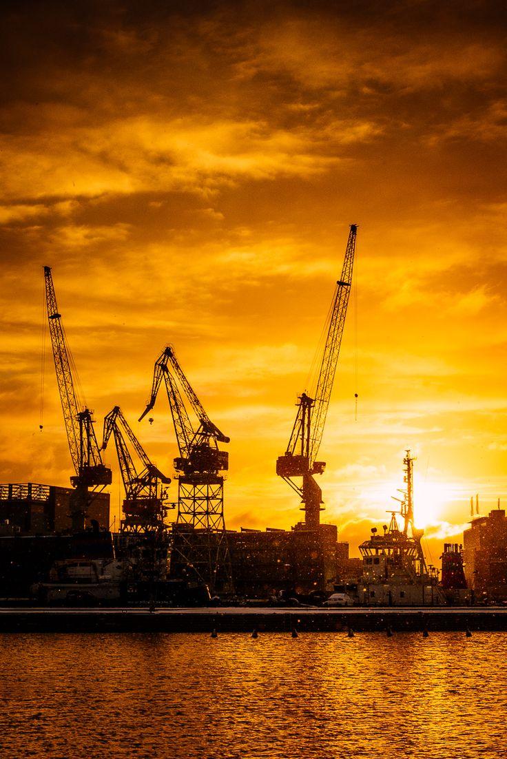 Cranes Of Hietaniemi Dockyard (c) Jussi Hellsten. 12.1.2014. Old cranes of Hietaniemi dockyard in sunset.