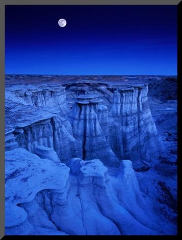 Full Moon Rises Over De-Na-Zin Wilderness, Bisti Badlands, New Mexico, by Karl Lehmann
