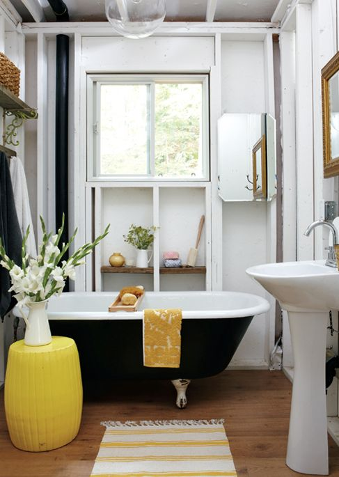 Black and Yellow Bathroom - Cottage - bathroom - Style at Home