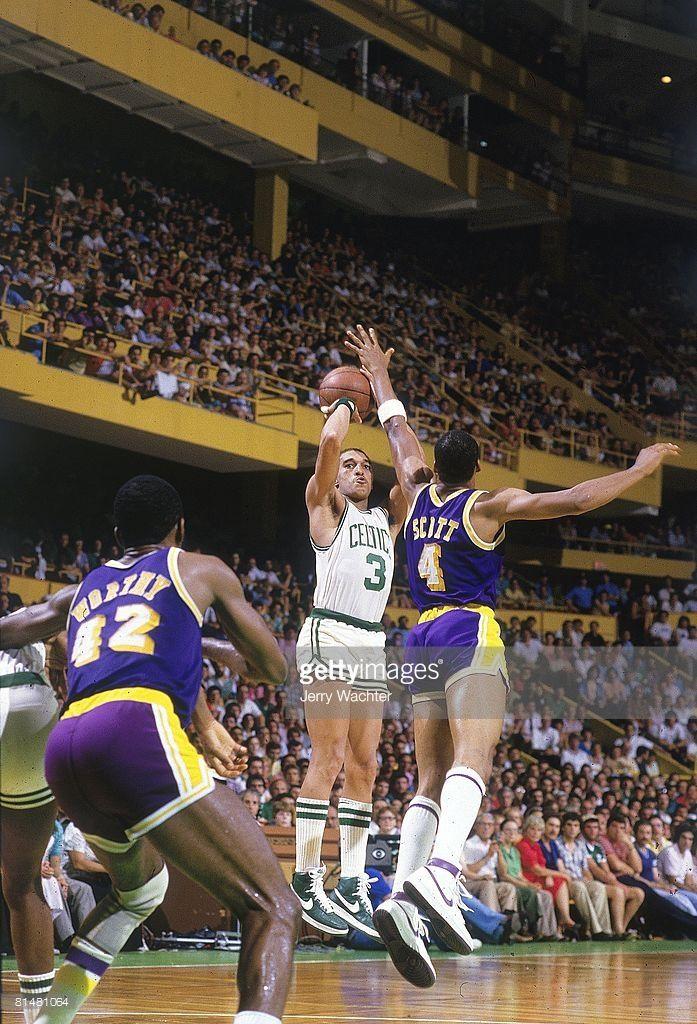 NBA Finals: Boston Celtics Eddie Johnson (3) in action, taking shot vs Los Angeles Lakers Byron Scott (4). Game 5. Boston, MA 6/8/1984