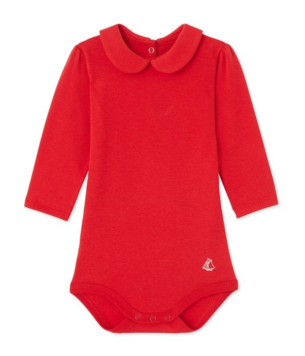 Body bébé fille à col claudine Petit Bateau rouge