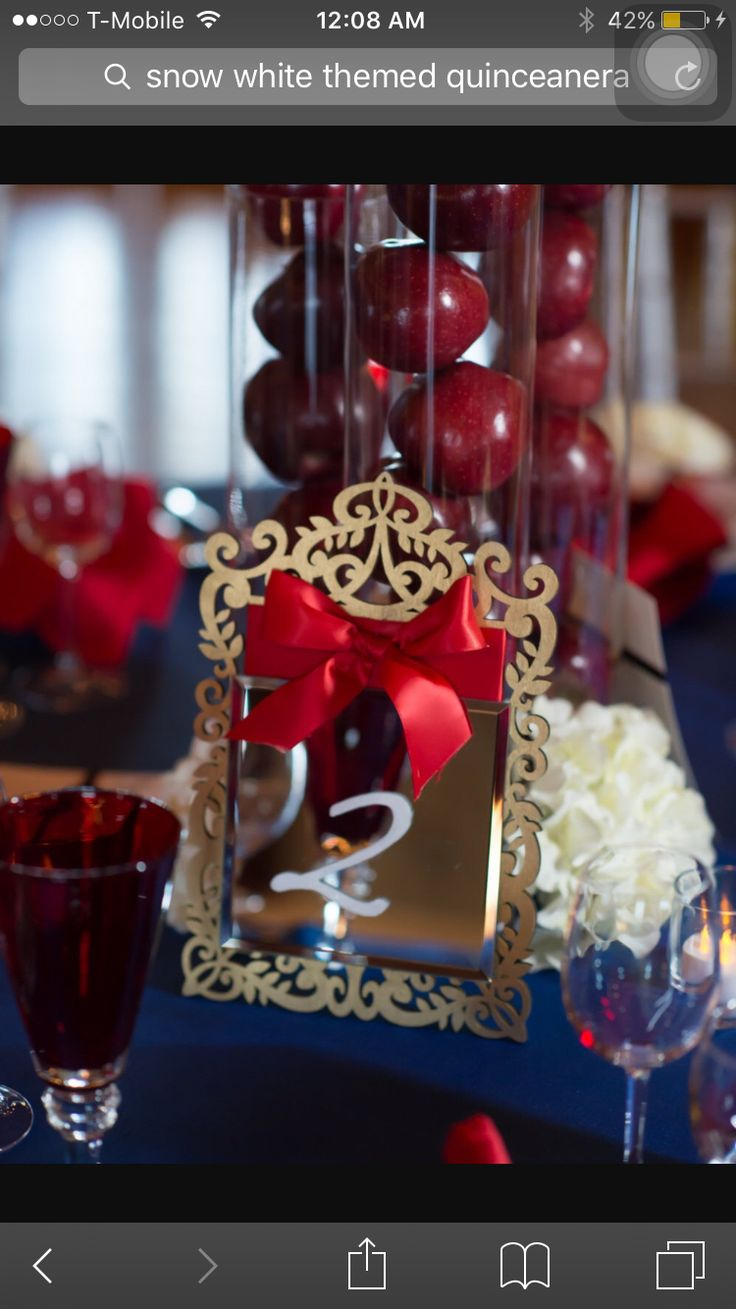 Snow White Inspired Mirror Table Number by MagicBeyondMidnight