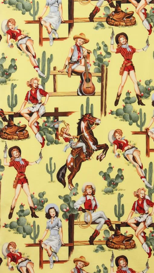 alexander henry - Vintage Yellow Pin Up Cowgirls.  Store  www.theflyingneedle.net - Pattern Name - Yellow, From The Hip