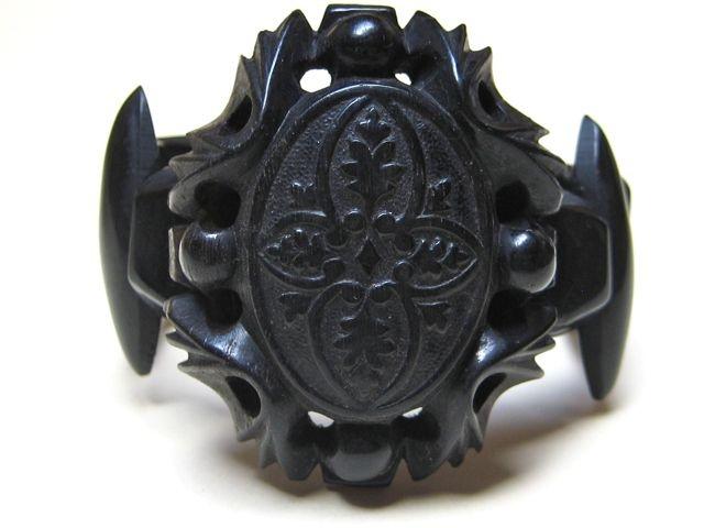 Antique Victorian Ornate Horn Mourning Bracelet ~ 1870s from gildedroom on Ruby Lane