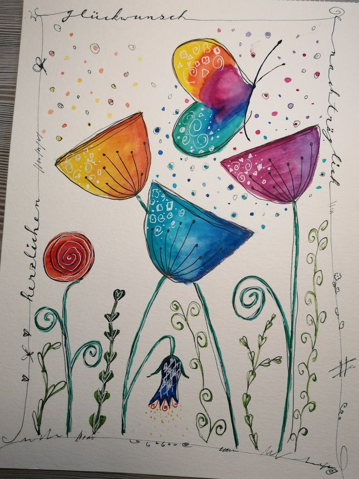 Happypainting Aquarell Aquarell Blumen Geburtstag In 2020