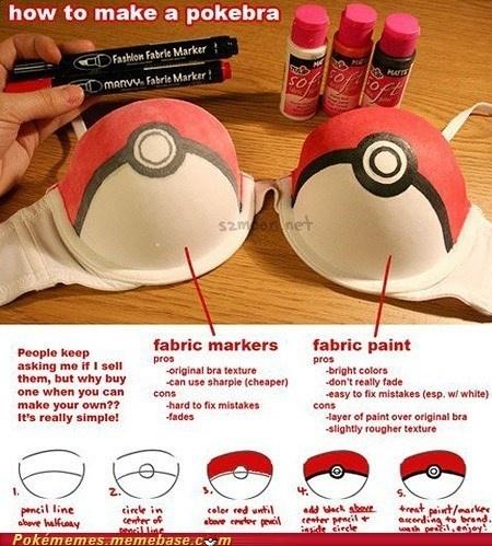 pokemon - how to make to make a pokeball bra