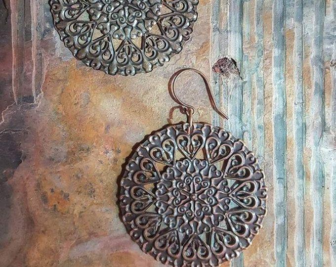 Tuscan Sun Earrings Large Boho Round Southwest Jewelry Rustic Dangling Fashion Earrings Exotic Festival Gear Coachella Burning man