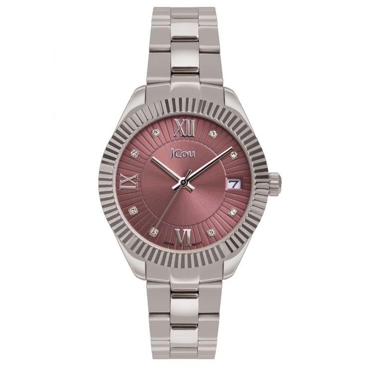 Ρολόι JCou της σειράς Queen's Mid με μεταλλικό μπρασελέ από ανοξείδωτο ατσάλι και υπέροχο ροζ καντράν. Ένα γυναικείο ρολόι με ένδειξη ημερομηνίας και λεπτομέρειες από λευκά κρύσταλλα που θα σας ενθουσιάσει.   #tasoulis_jewellery #watch #jcou #jcou_watches #ρολόι #silver #bracelet #fashion #beauty #ασημί #ρολόι #κοσμήματα