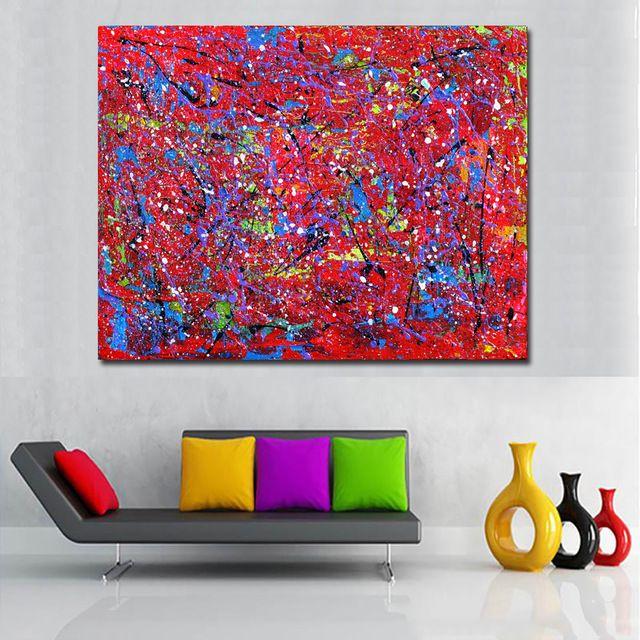 Généreusement Mur Décor Toile Imprimé Abstrait Rouge Bleu
