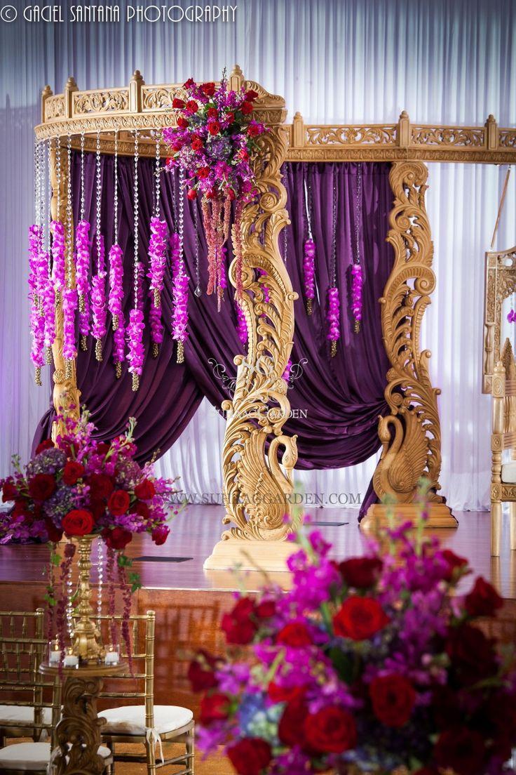Indian Wedding, Boynton Beach BAPS Mandir, Suhaag Garden, Indian wedding decorators, Florida wedding decorators, wooden carved mandap, lavender drapes, crystals, orchids
