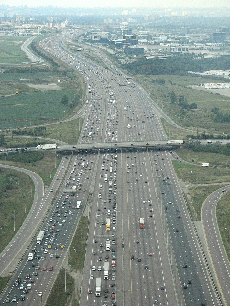 The worlds busiest highway, Highway 401 near Toronto, Canada.