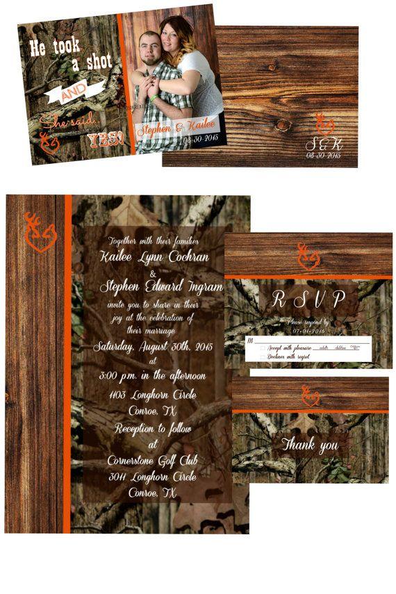 Classic Mossy Oak Wedding Invitation Orange Trim by KisiKreations