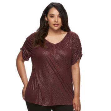 Plus Size Jennifer Lopez Ruched Metallic Tee