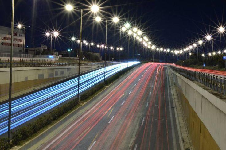 night shot on the highway of Elefsina.