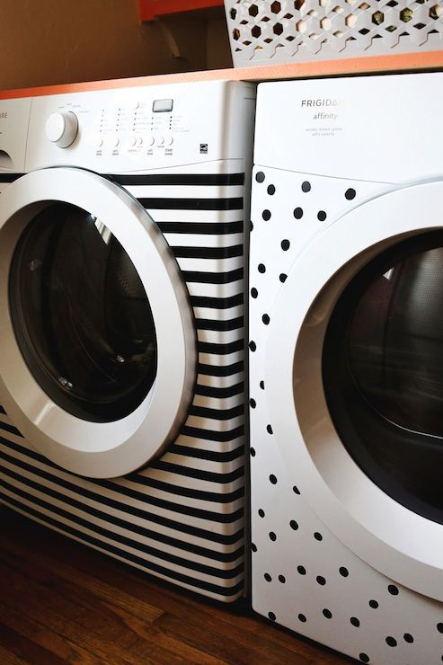 A Beautiful Mess - laundry/mud rooms - black and white laundry room, laundry room, black and white washer and dryer, striped washer, dotted ...