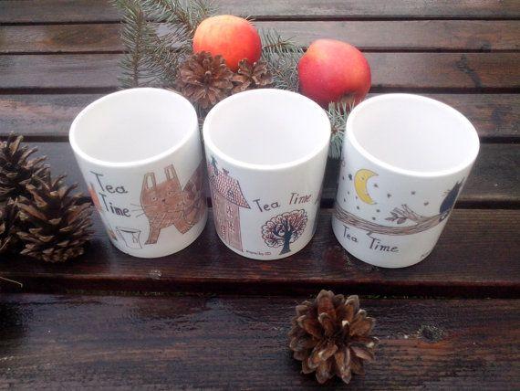 Three Tea Time mugs by kaguzal on Etsy