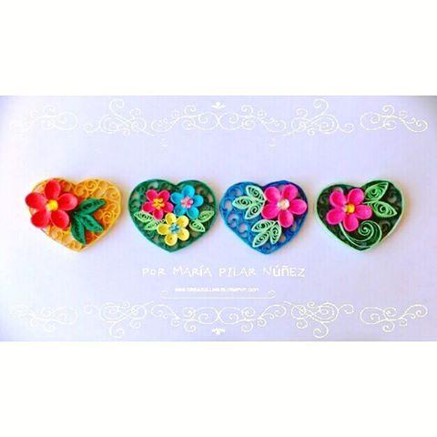 Unos corazones especiales  #love #cute #quilling #paper #souvenir #idea #gift #flowers #crafty #artesanato #handmade #chile #fattoamano #amor #lover #scrapbooking #linda #corazon #heart #filigrana #filigran #amour #diseño #design #deco #niedlich #liebe #pilynuñez #creaquilling