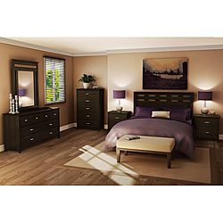 Transitional styling in a modern, ebony finish completes this Vendome bedroom set. A headboard, dresser, mirror and two night tables are included in this bedroom set.