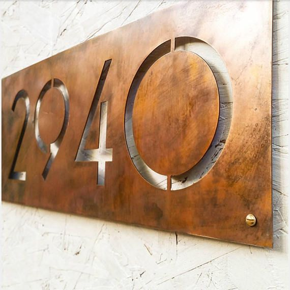 Justified Right Modern House Number Plaque In Faux Copper Patina House Number Plaque House Numbers Modern House Number