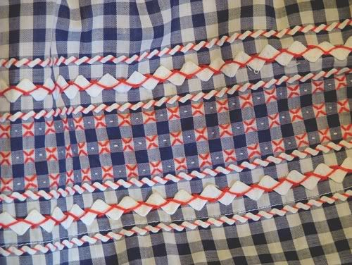 Gingham embroidery with rick rack. Gingham and rick rack go together like peanut butter and jelly.