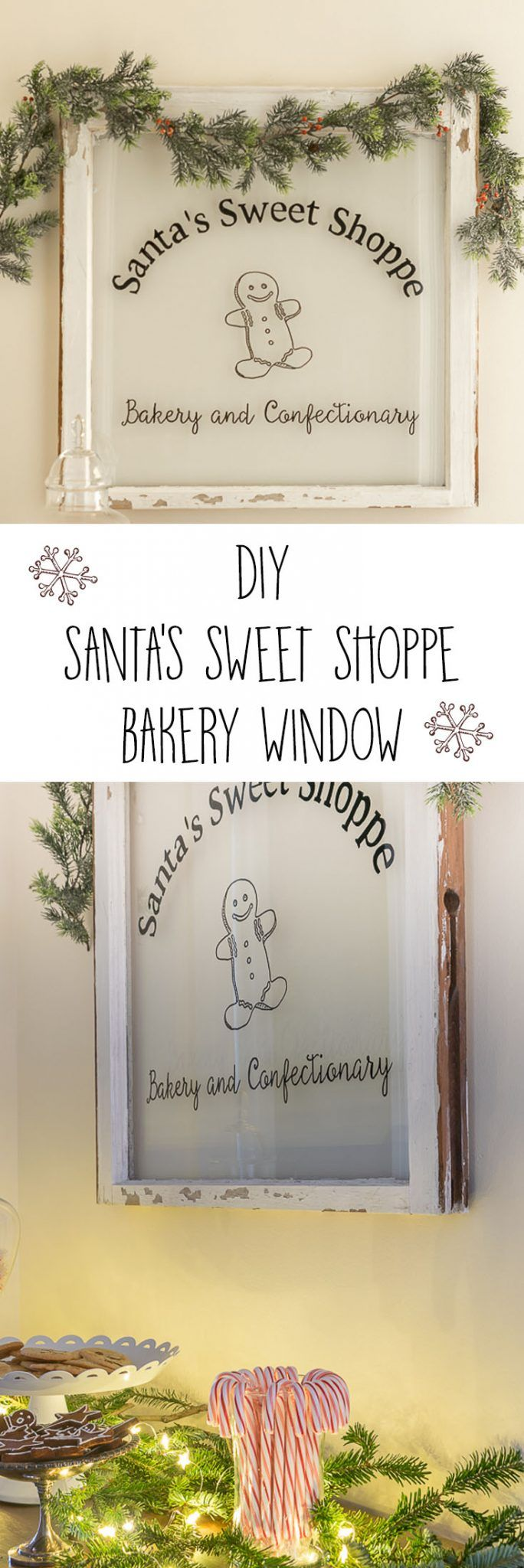 What a fun DIY! This easy to make Santa's Sweet Shoppe Bakery Window is a perfect upcycled craft for Christmas and Holiday decor.