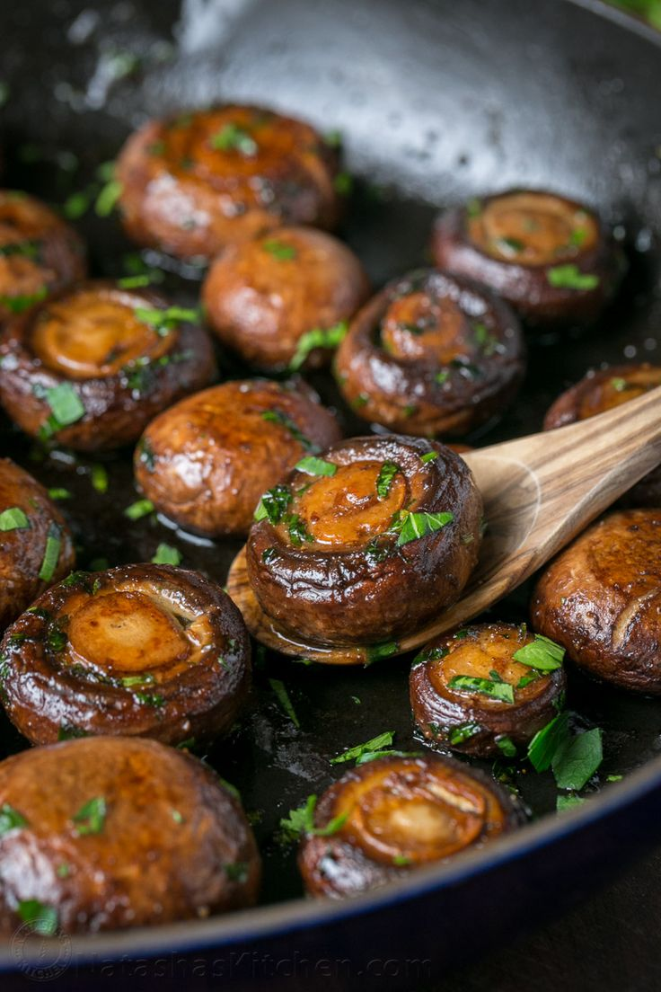These are so easy and tasty! Serve sauteed mushrooms as a ...