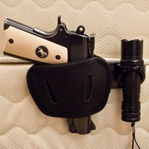 Pistol Holster & Bed Mount---so weird, I clicked onto my app Pinterest & this came up. My son has a gun just like this had to share & show him this. (My good child)