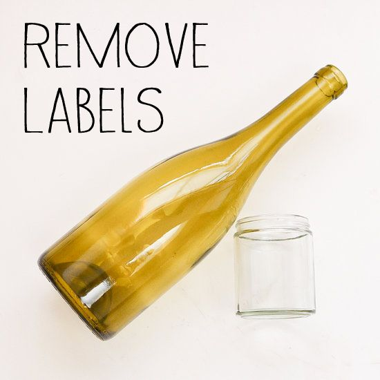 How to easily remove sticky labels from glass bottles and jars. Soak item in water, drain, cover item with boiling water plus a squirt of dish soap, cool to room temp, peel labels off.