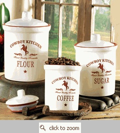 Cowboy Kitchen Canisters | Cowgirl Decor | Pinterest | Kitchen Canisters,  Kitchens And Kitchen Canister Sets