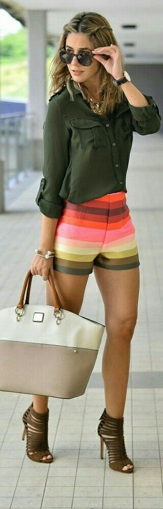 Rainbow Shorts by JollyChic / Fashion by Ma Petite