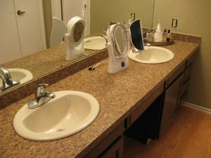 How to Take Off an Old Bathroom Laminate Countertop and Install a New One  Read more: http://www.howtobuildahouseblog.com/how-to-take-off-an-old-laminate-bathroom-countertop-and-install-a-new-one/#ixzz37DfOx94C