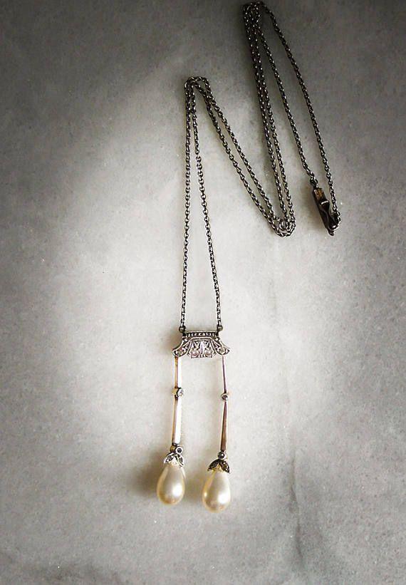 Romantic Art Deco Edwardian Sparkly Diamonds and Faux
