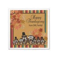 Owl Pilgrim Family Thanksgiving Standard Cocktail Napkin