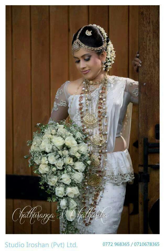Bride Portrait Wedding Sarees Wear Sri Lanka White Weddings Bodas Welding Clothing