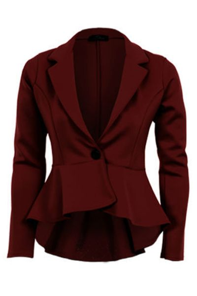 Fashion Woman A Buckle Navy Wine Red Polyester Suit