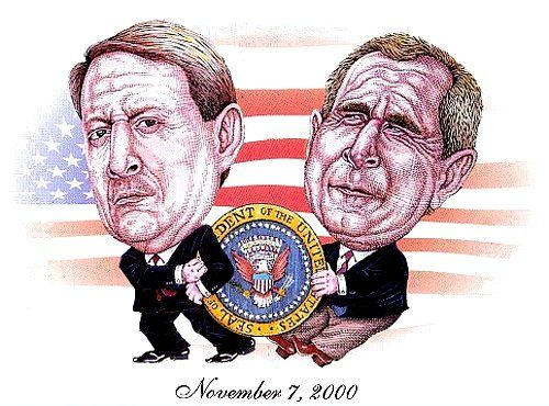 Google Image Result for http://cloudfront3.bostinno.com/wp-content/uploads/2012/11/2000Election.jpg- George W Bush defeated Al Gore in 2000 Pres. election