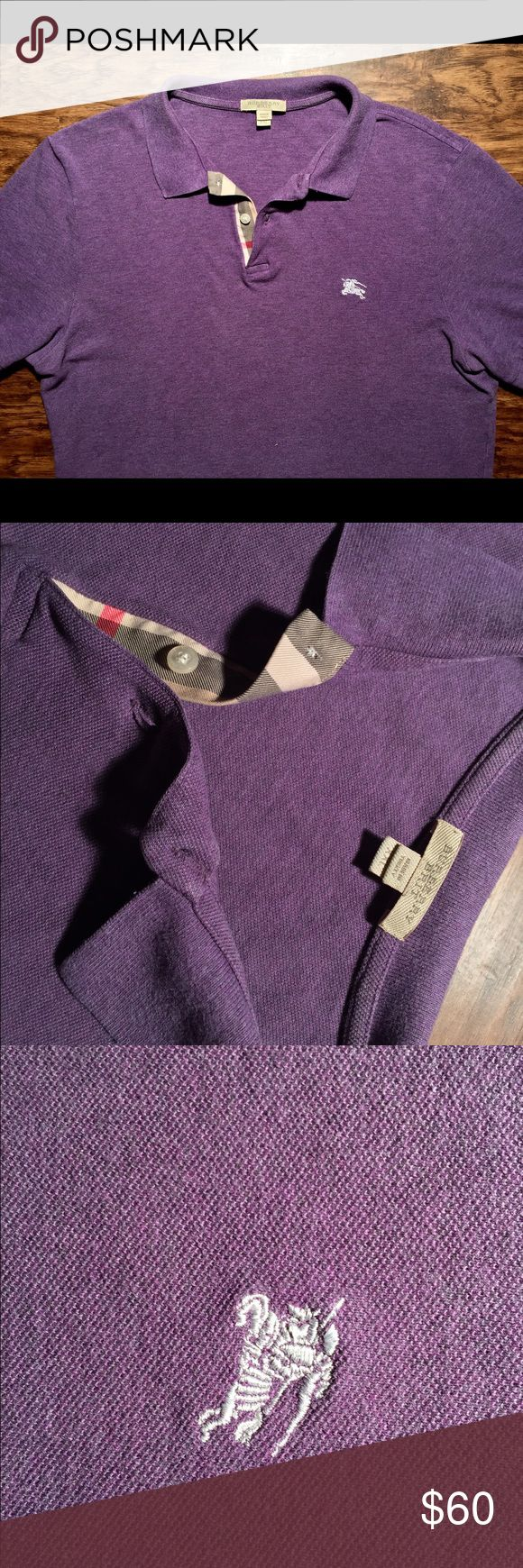 Burberry shirt XL Men's short sleeve polo Burberry shirt purple heather in men's size XL ( tag says xxl but runs small ) Burberry Shirts Polos
