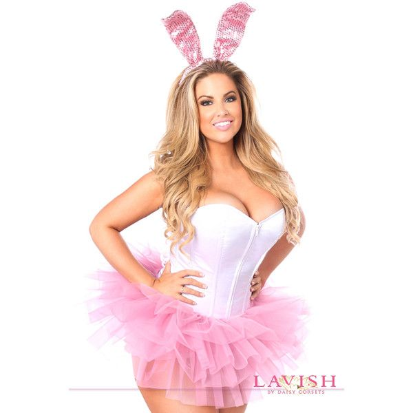 Plus size innocent bunny corset costume ($120) ❤ liked on Polyvore featuring costumes, plus size, whitepink, white bunny halloween costumes, bunny costume, white halloween costumes, white bunny costume and plus size bunny costume