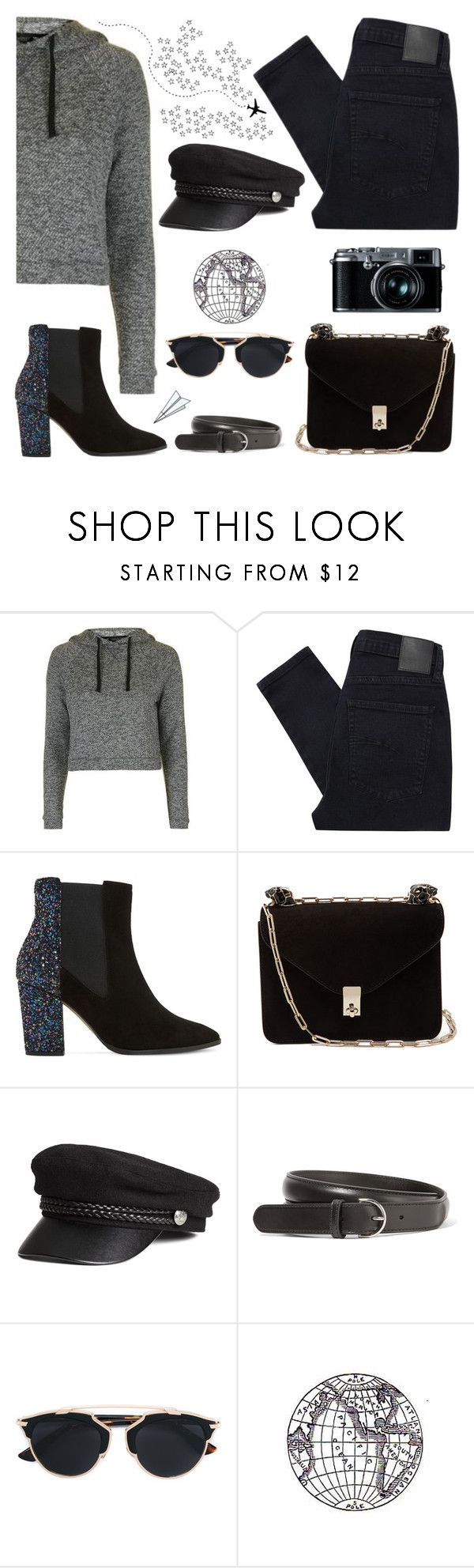 """Bring It Back"" by apollinariya-664 ❤ liked on Polyvore featuring Topshop, Nobody Denim, Dune, Valentino, Acne Studios, Christian Dior, Plane, Fujifilm, YSL and airportstyle"