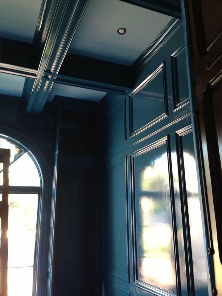 Benjamin Moore Slate Teal in high gloss on ceiling???                                                                                                                                                     More