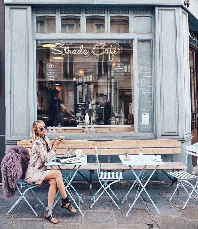Coffee hunting before the #paulandjoe show, wearing @paulandjoeparis dress and coat.  #Pfw #paris #ss17 #paulandjoeshow #ad