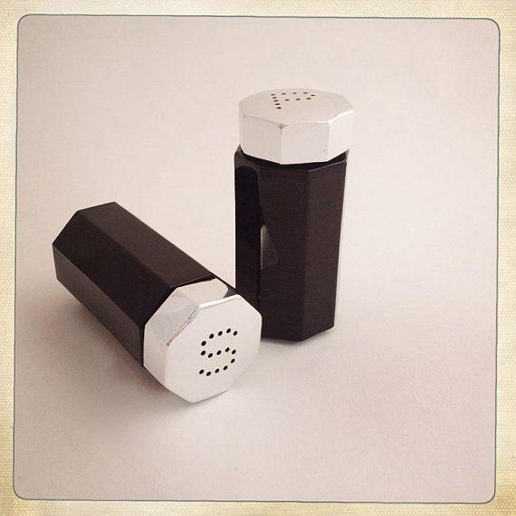 Vintage Salt and Pepper Shakers Black Glass by amysvintagedecorium, $30.00