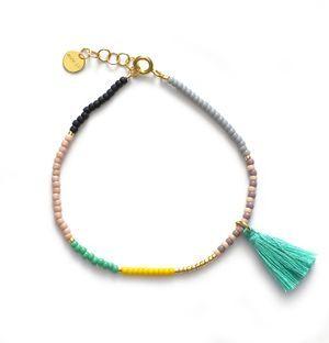 162-02-14 // ANNI LU // HIP bracelet // Grey with Aqua tassel