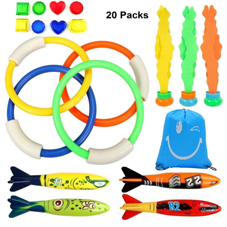 Diving Toys Underwater Swimming/Diving Pool Toy Dive Set with Diving Rings, Torpedo, 8Pcs Treasures Gift, Waterproof Storage Bag, Dive Training Gift for Kids Diving