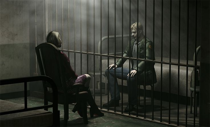 A cutscene from Silent Hill 2. It was framed in a way that makes it so the player can't tell which character is the one who is imprisoned.