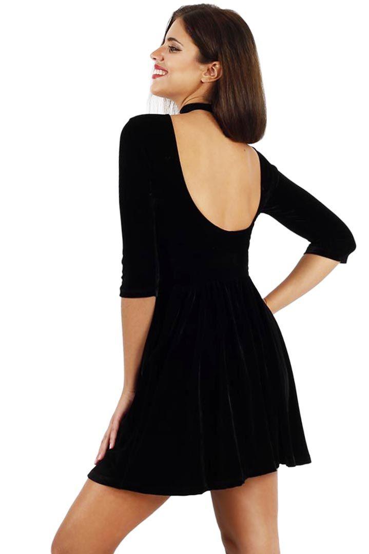 Premium black velvet skater dress