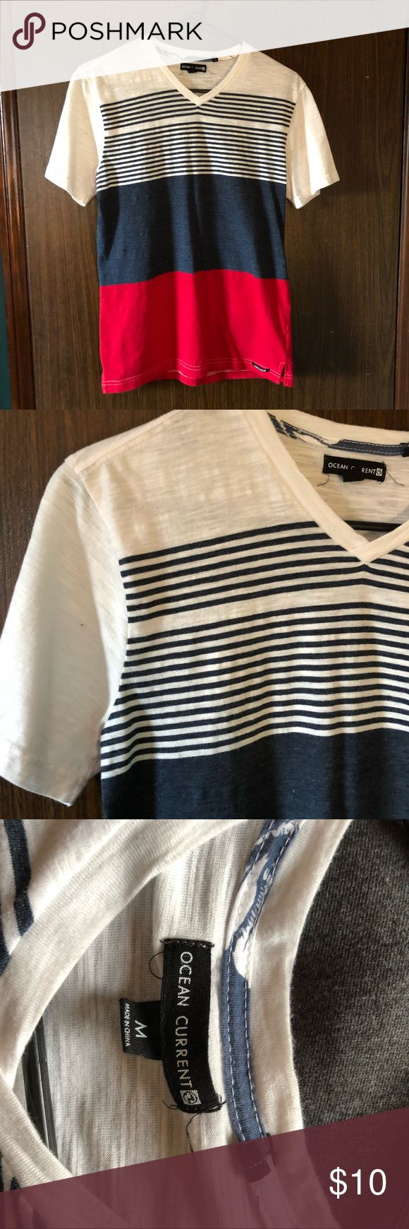 Ocean Current Striped V-Neck Tee •very soft •worn once •no rips, stains, or tears Ocean Current Shirts Tees - Short Sleeve