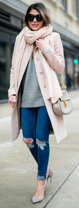 #fashion #outfits #winter Pam Hetlinger + pale rose coat + matching scarf + distressed denim jeans + pastel coloured heels.   Coat: Reiss, Sweater:Nordstrom, Jeans: Asos, Shoes: Barneys.